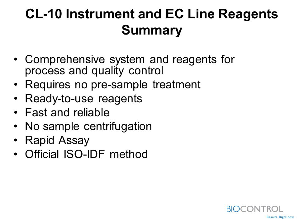 CL-10 Instrument and EC Line Reagents Summary