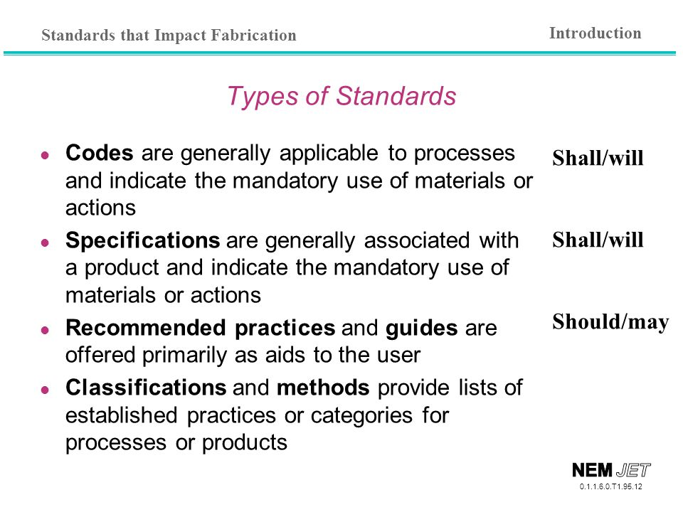 Introduction Types of Standards. Codes are generally applicable to processes and indicate the mandatory use of materials or actions.