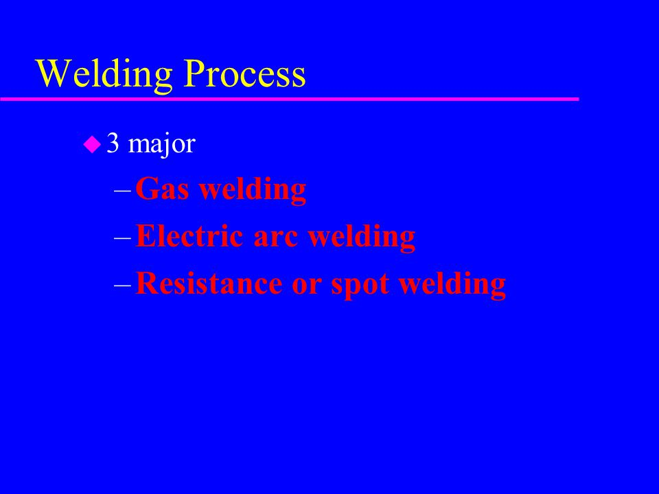 Welding Process Gas welding Electric arc welding