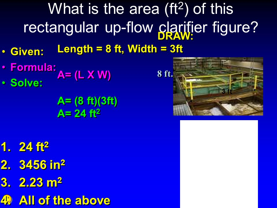 What is the area (ft2) of this rectangular up-flow clarifier figure