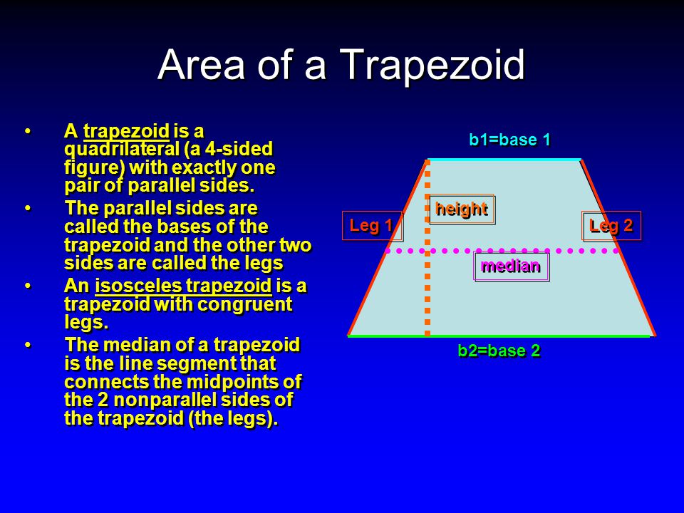 Area of a Trapezoid A trapezoid is a quadrilateral (a 4-sided figure) with exactly one pair of parallel sides.