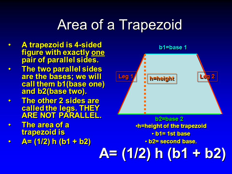 h=height of the trapezoid