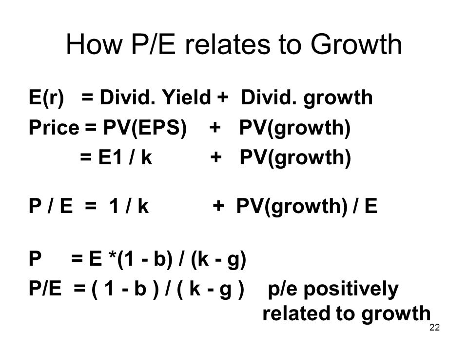 How P/E relates to Growth