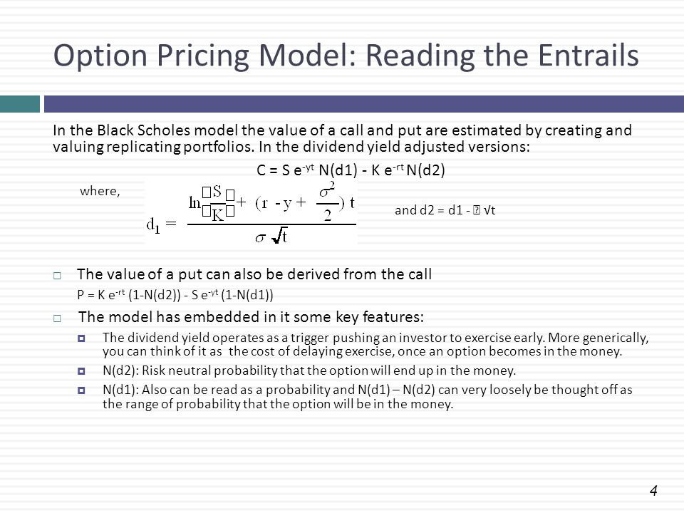 Option Pricing Model: Reading the Entrails