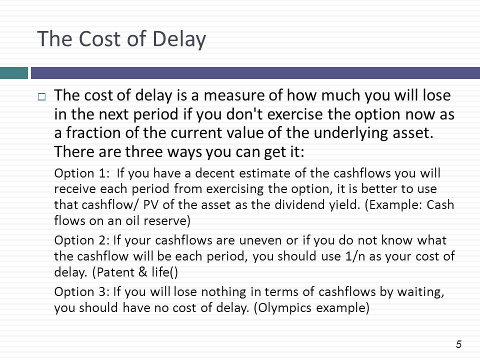 The Cost of Delay