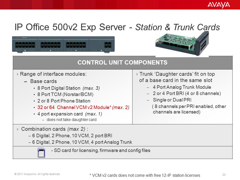 IP Office 500v2 Exp Server - Station & Trunk Cards