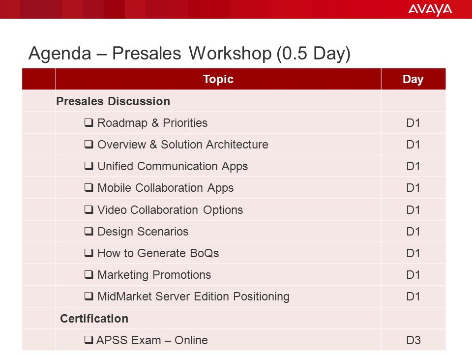 Agenda – Presales Workshop (0.5 Day)