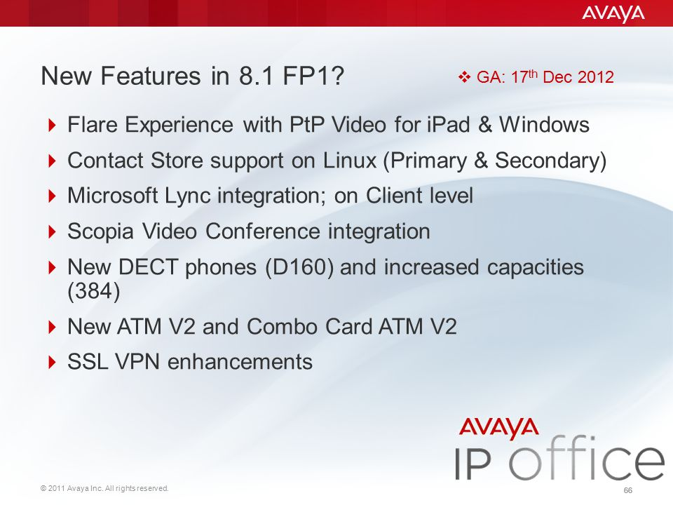 New Features in 8.1 FP1 GA: 17th Dec 2012. Flare Experience with PtP Video for iPad & Windows.