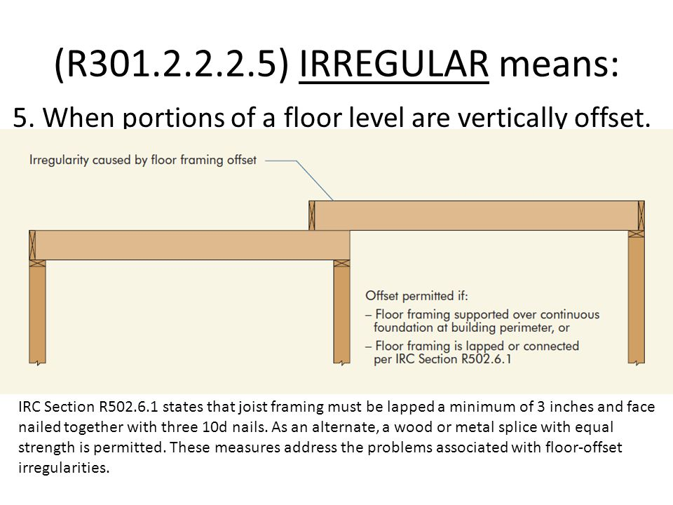 (R301.2.2.2.5) IRREGULAR means: 5. When portions of a floor level are vertically offset.
