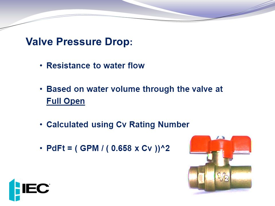 Valve Pressure Drop: Resistance to water flow