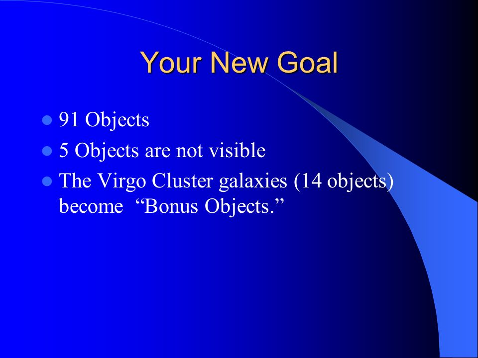 Your New Goal 91 Objects 5 Objects are not visible