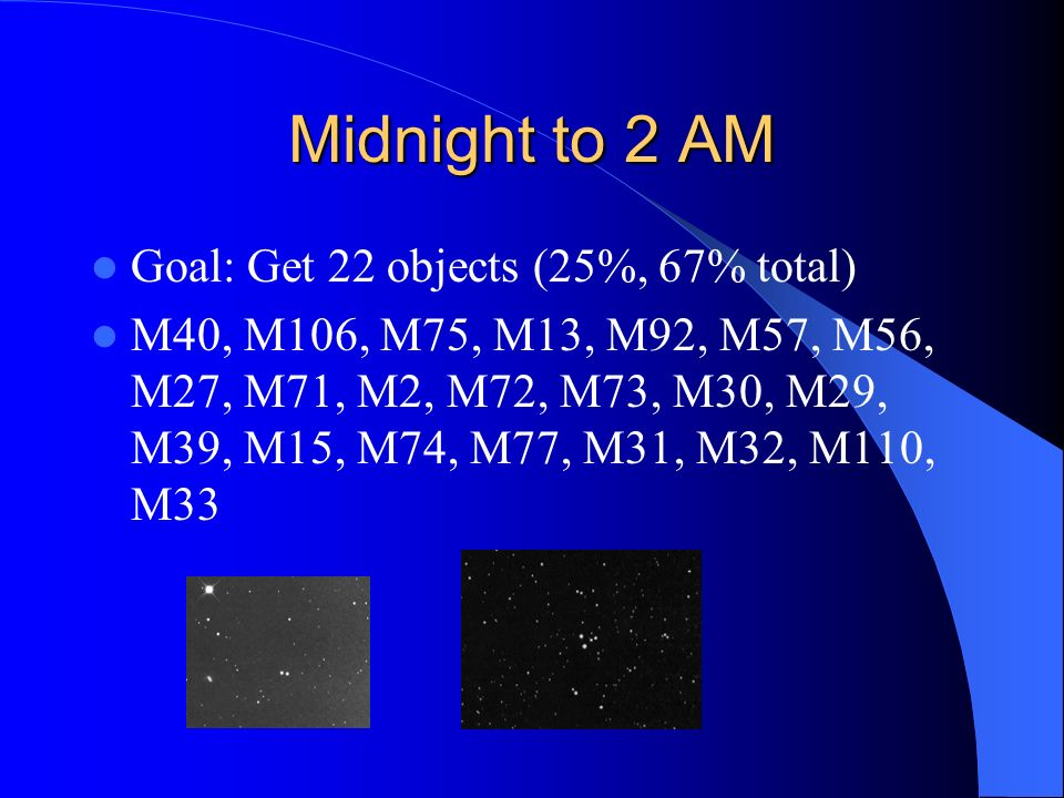 Midnight to 2 AM Goal: Get 22 objects (25%, 67% total)