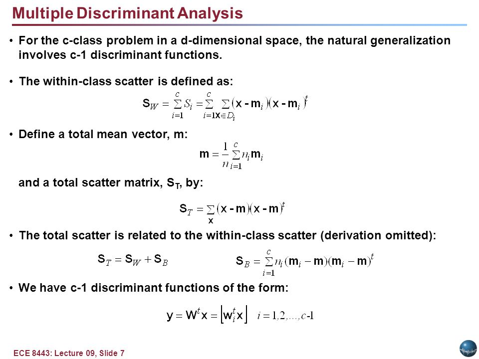 Multiple Discriminant Analysis (Cont.)