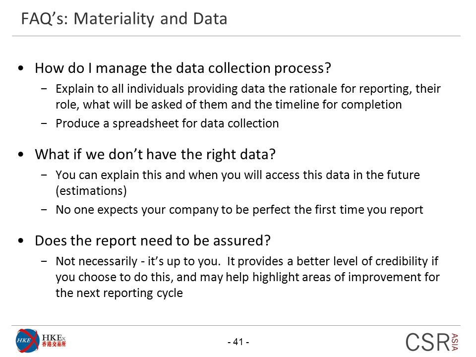 FAQ's: Materiality and Data