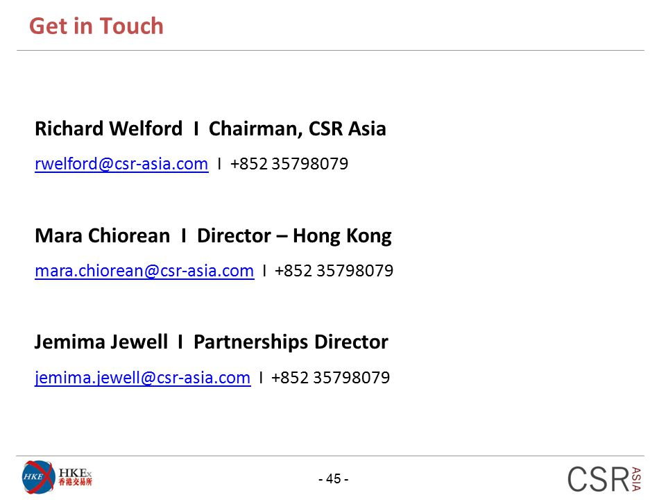 Get in Touch Richard Welford I Chairman, CSR Asia