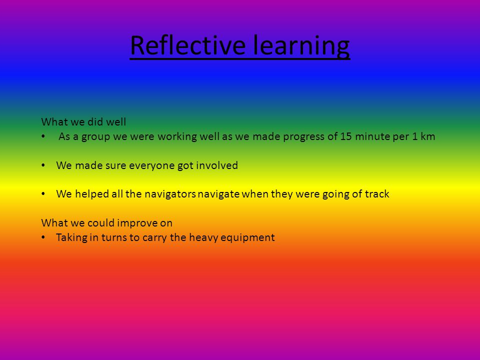 Reflective learning What we did well