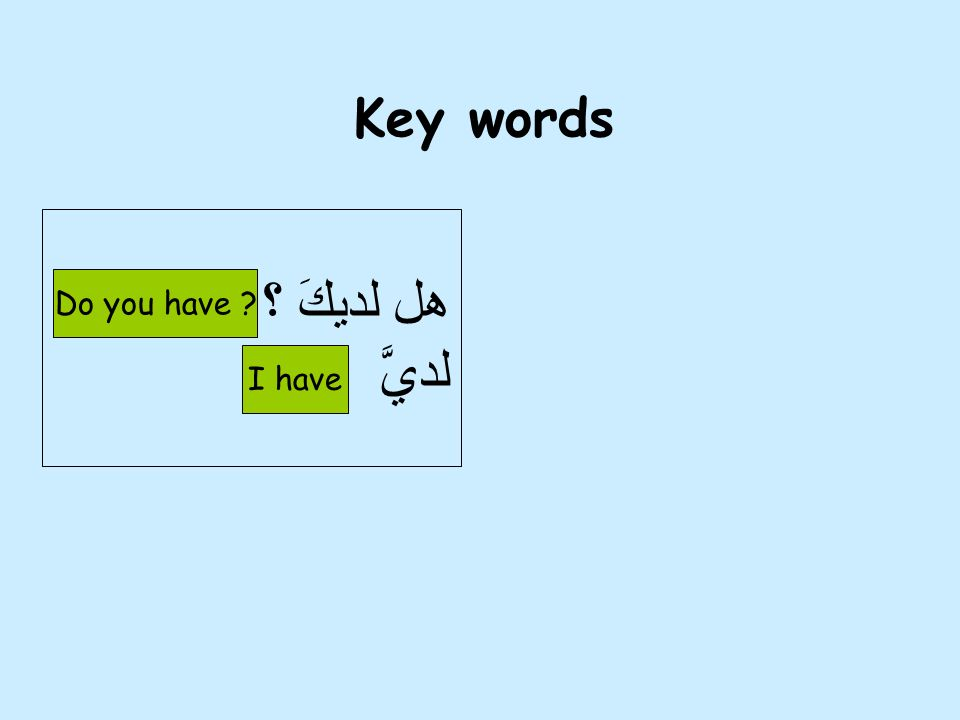Key words هل لديكَ ؟ لديَّ Do you have I have 5