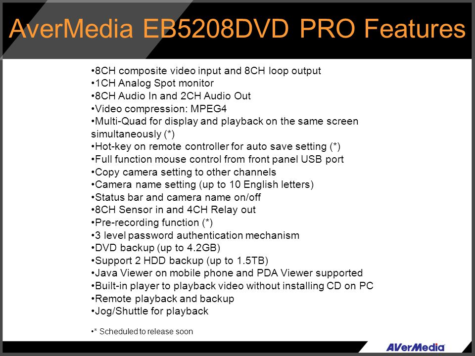 AverMedia EB5208DVD PRO Features