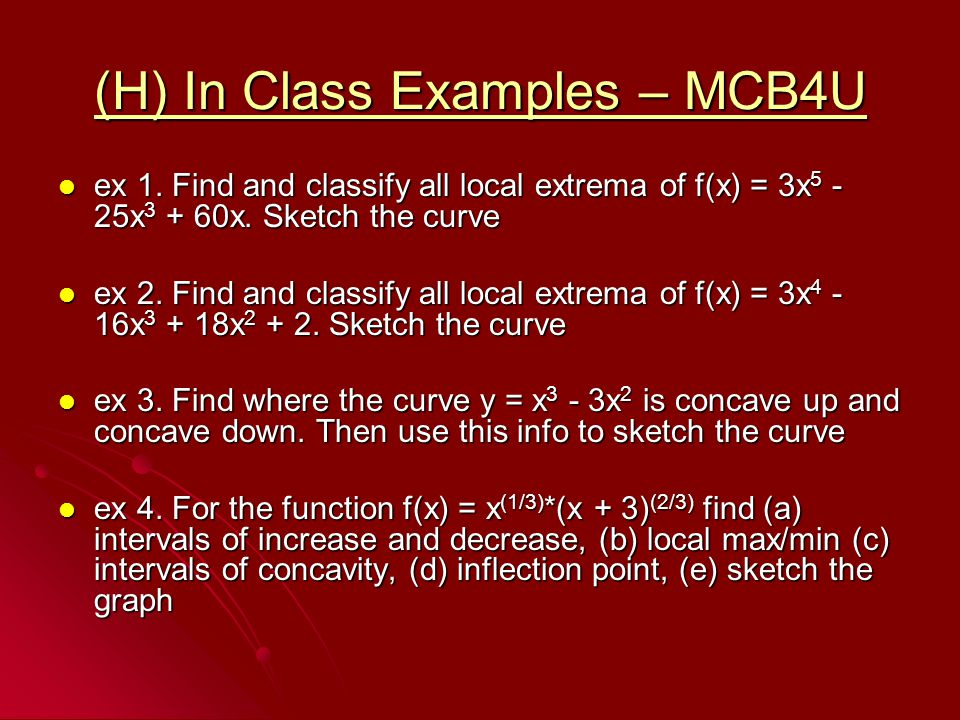 (H) In Class Examples – MCB4U