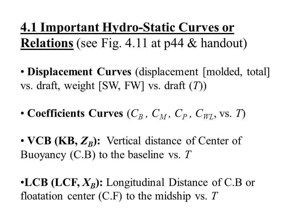 4. 1 Important Hydro-Static Curves or Relations (see Fig. 4
