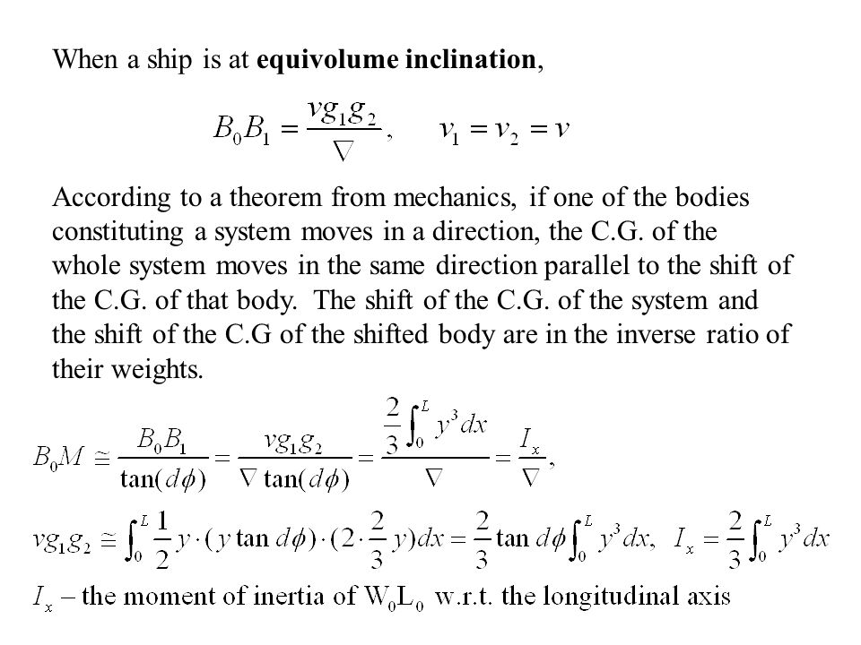 When a ship is at equivolume inclination,
