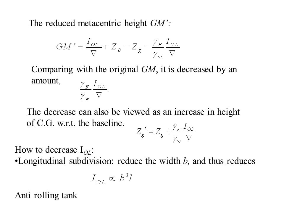 The reduced metacentric height GM':