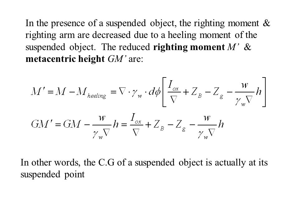 In the presence of a suspended object, the righting moment & righting arm are decreased due to a heeling moment of the suspended object. The reduced righting moment M' & metacentric height GM' are: