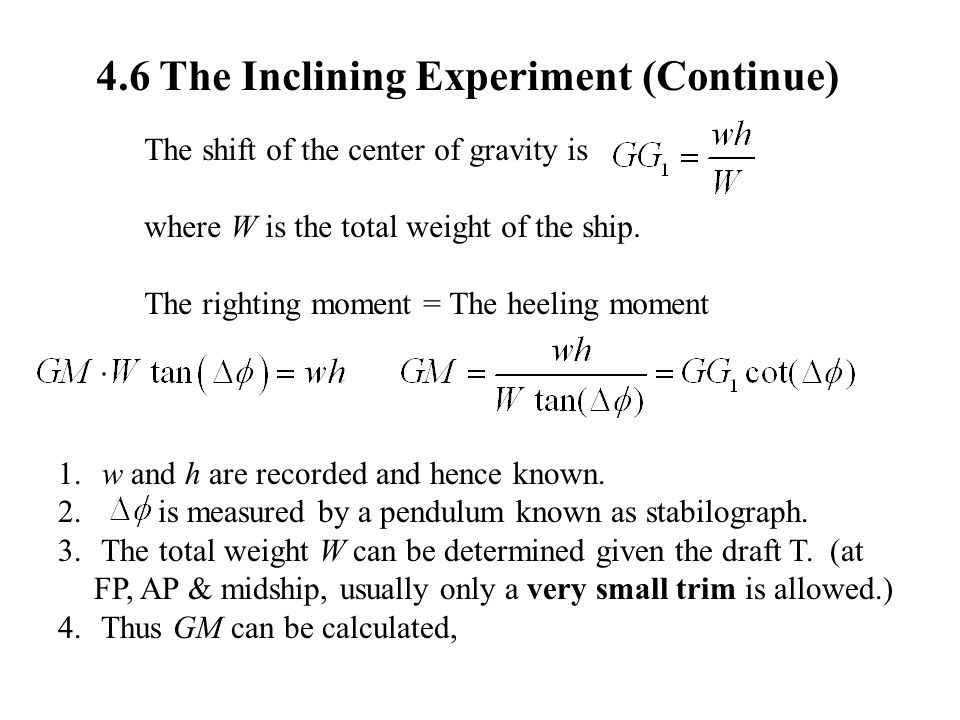 4.6 The Inclining Experiment (Continue)