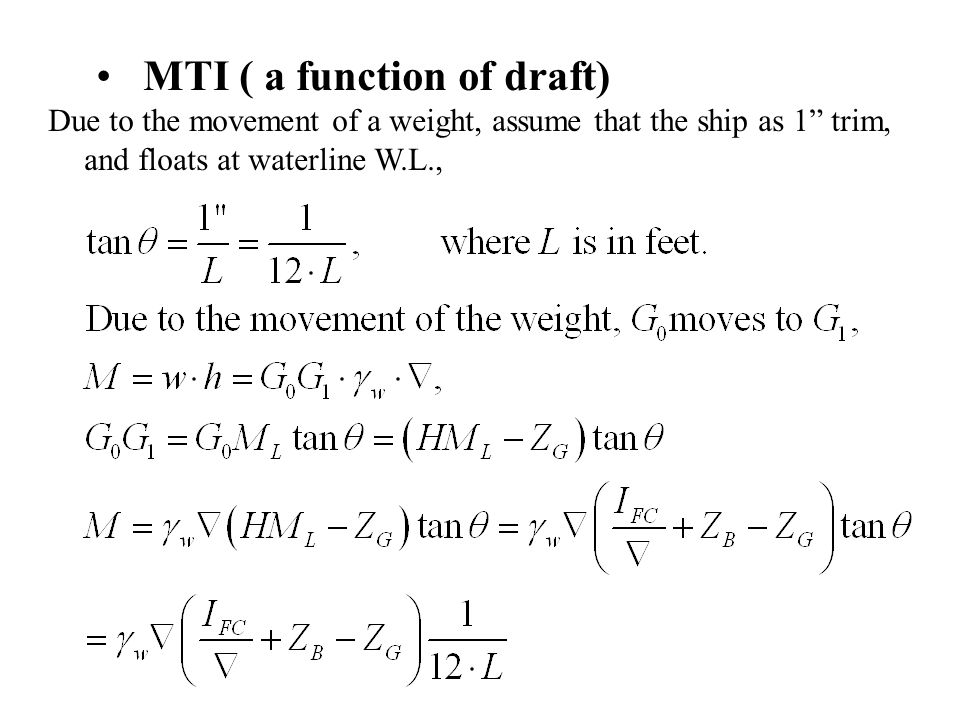 MTI ( a function of draft)