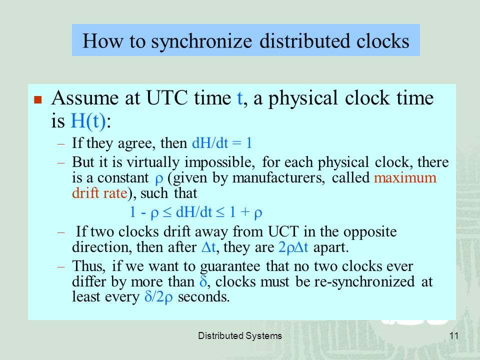 How to synchronize distributed clocks