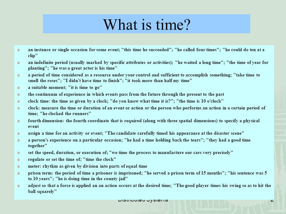 What is time Distributed Systems