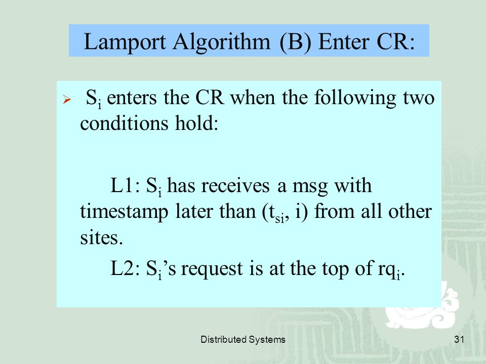 Lamport Algorithm (B) Enter CR: