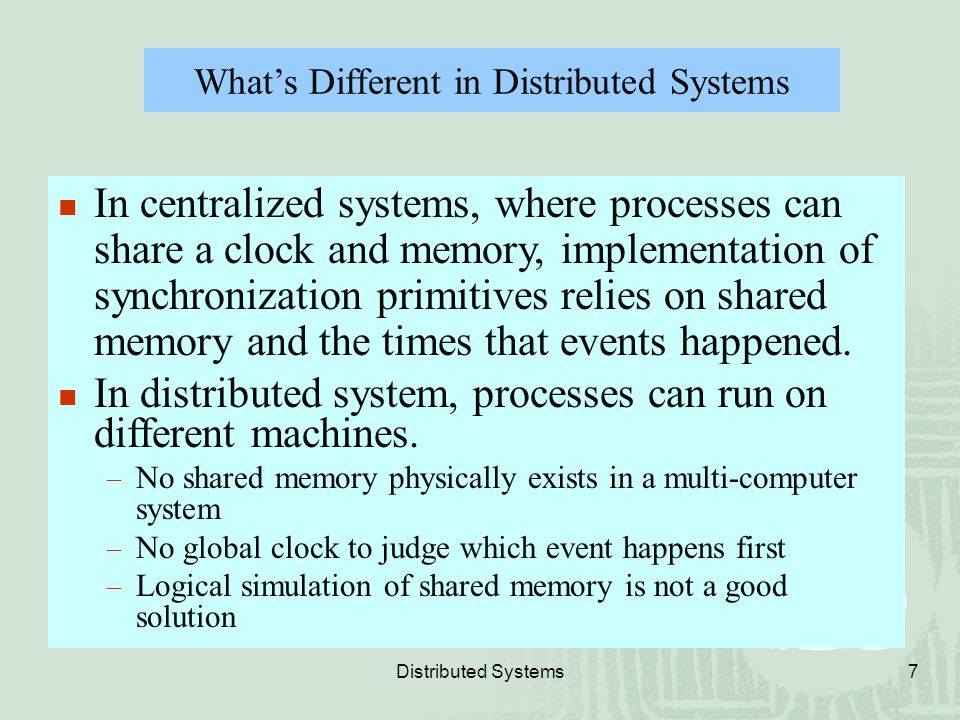 What's Different in Distributed Systems