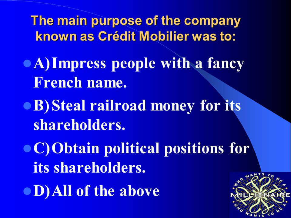 The main purpose of the company known as Crédit Mobilier was to: