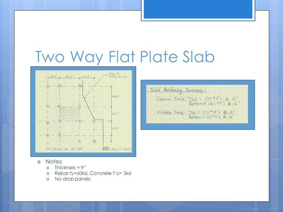 Two Way Flat Plate Slab Notes: Thickness = 9