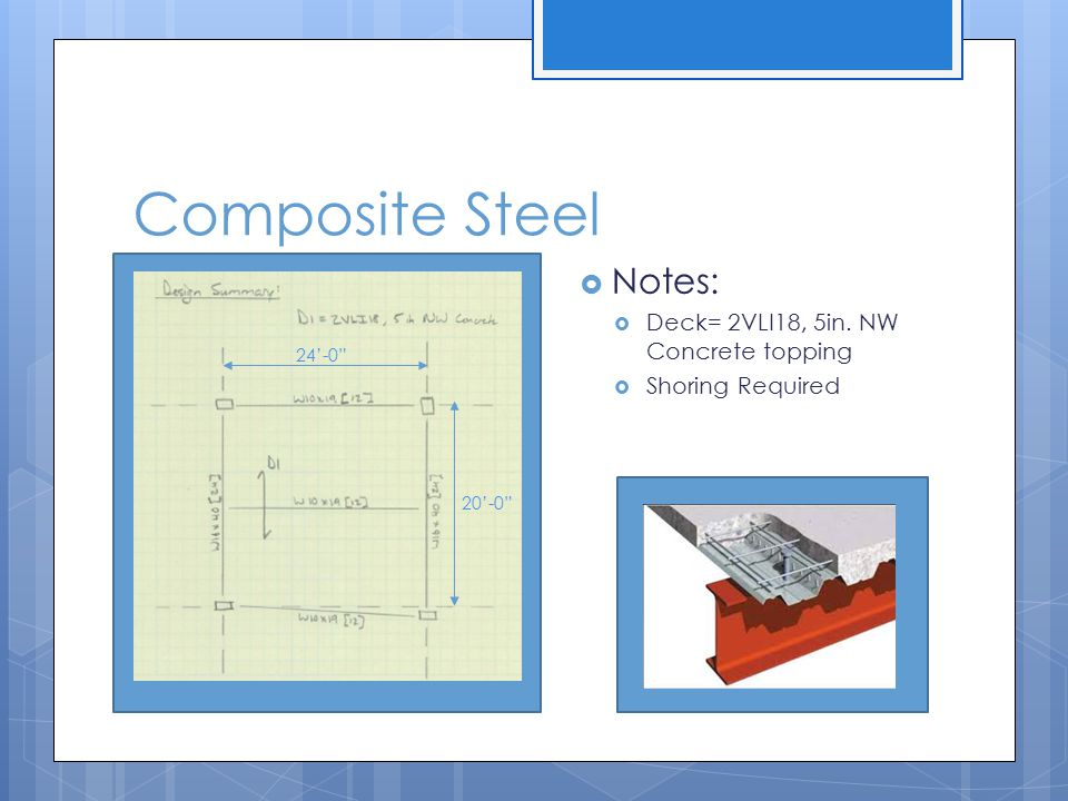 Composite Steel Notes: Deck= 2VLI18, 5in. NW Concrete topping