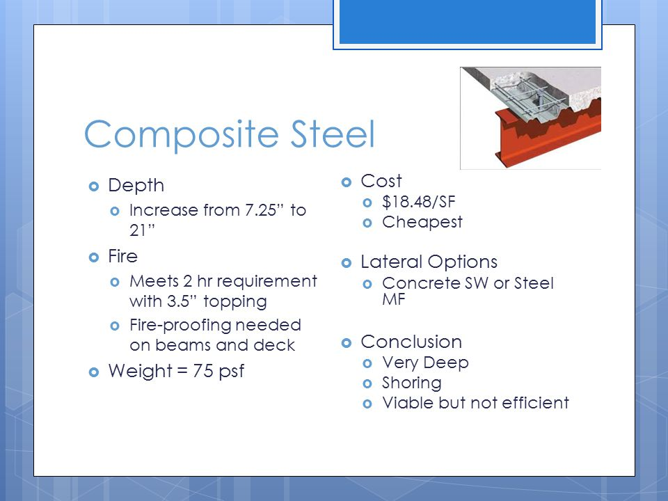 Composite Steel Depth Fire Weight = 75 psf Cost Lateral Options