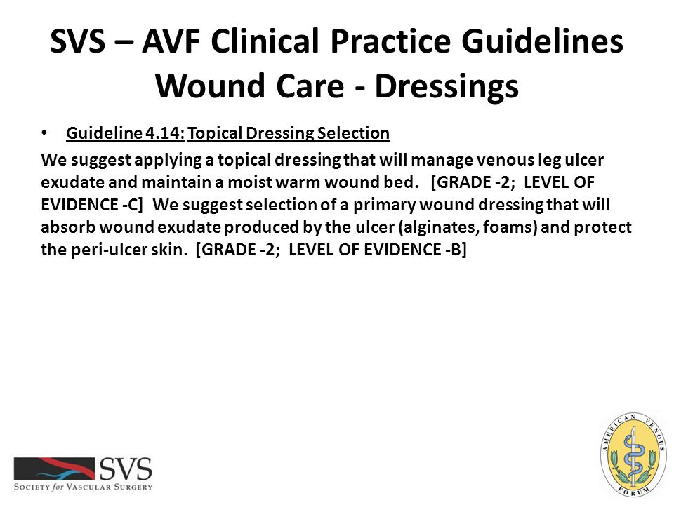 SVS – AVF Clinical Practice Guidelines Wound Care - Dressings