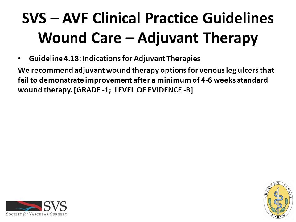 SVS – AVF Clinical Practice Guidelines Wound Care – Adjuvant Therapy
