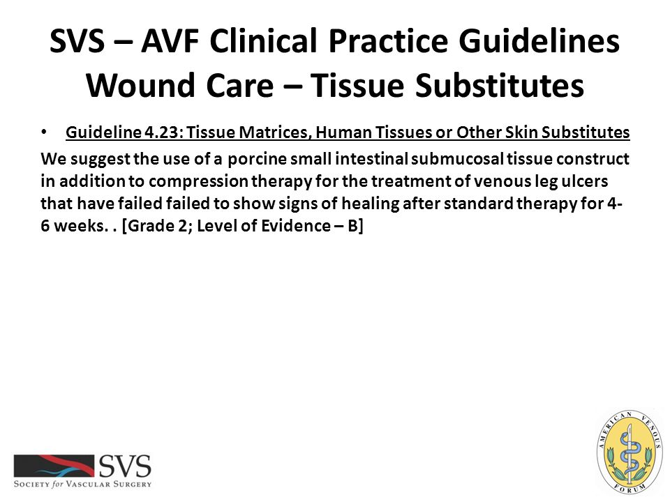 SVS – AVF Clinical Practice Guidelines Wound Care – Tissue Substitutes