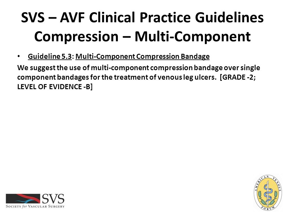 SVS – AVF Clinical Practice Guidelines Compression – Multi-Component