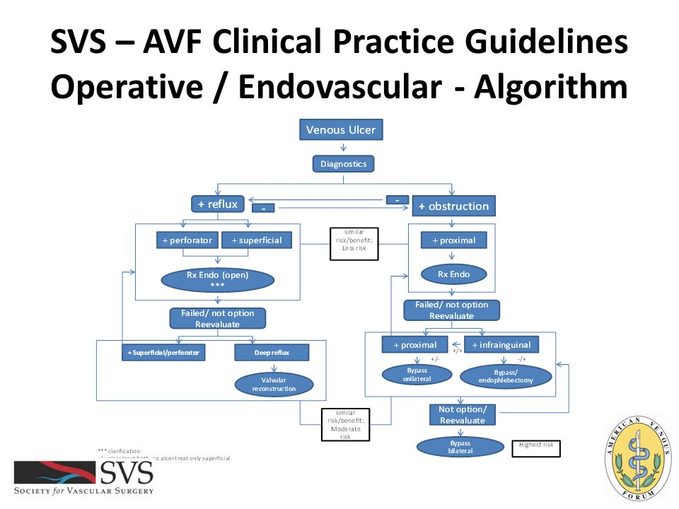 SVS – AVF Clinical Practice Guidelines Operative / Endovascular - Algorithm