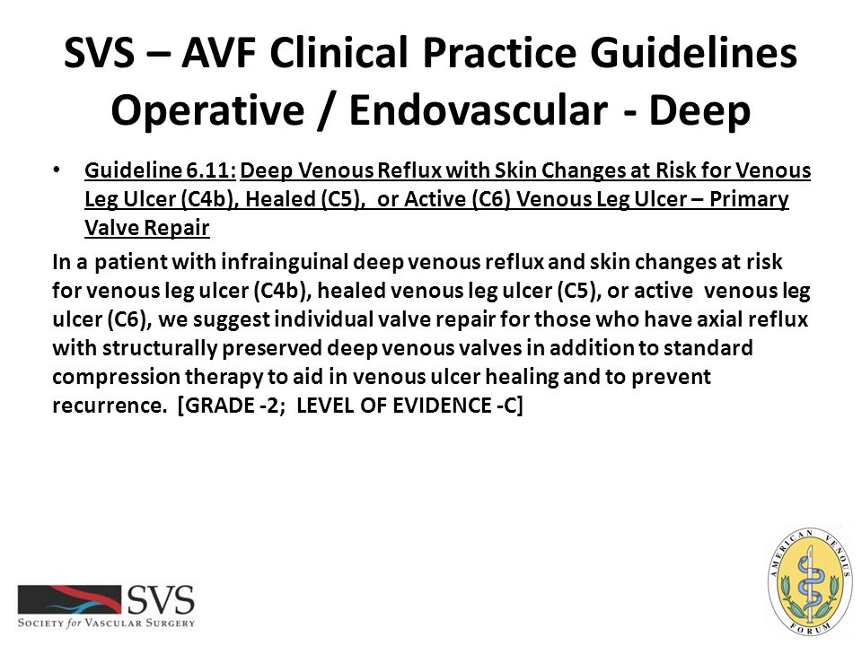 SVS – AVF Clinical Practice Guidelines Operative / Endovascular - Deep