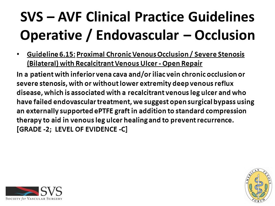 SVS – AVF Clinical Practice Guidelines Operative / Endovascular – Occlusion