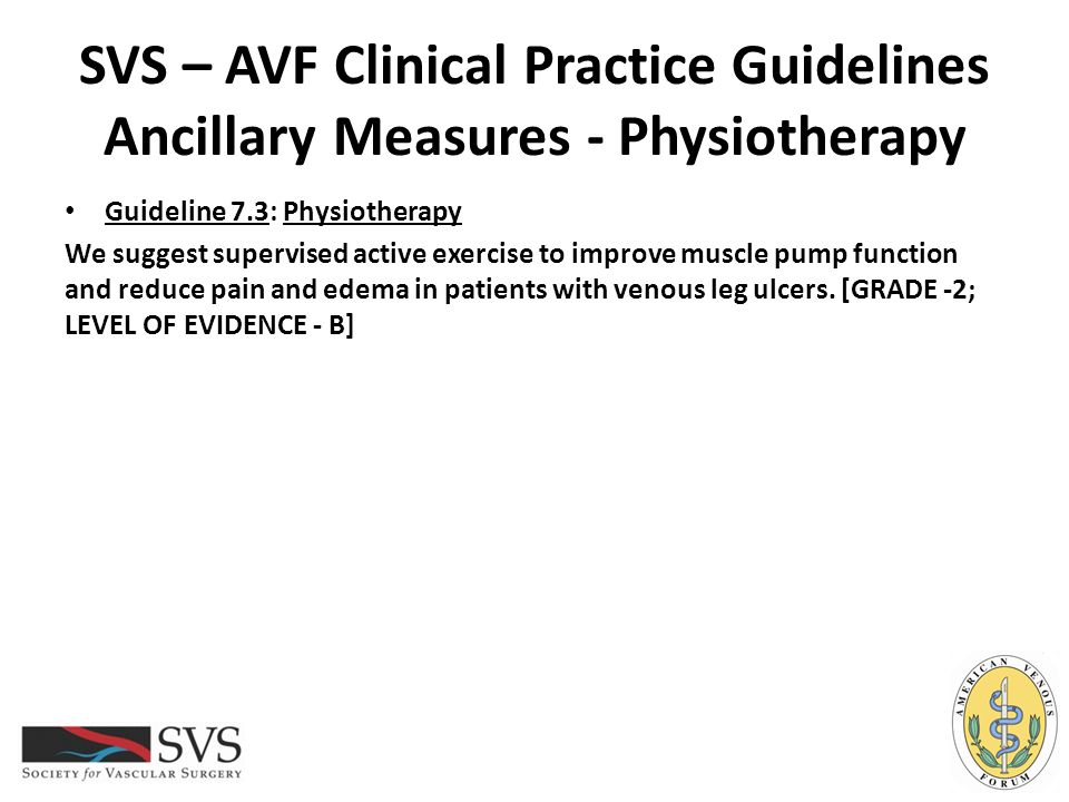 SVS – AVF Clinical Practice Guidelines Ancillary Measures - Physiotherapy
