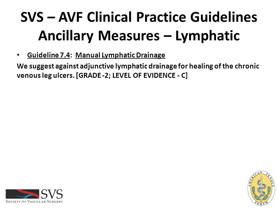 SVS – AVF Clinical Practice Guidelines Ancillary Measures – Lymphatic