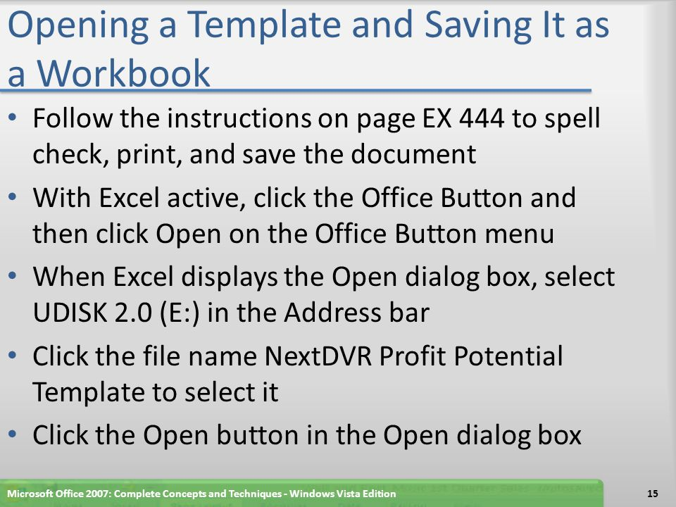 Opening a Template and Saving It as a Workbook