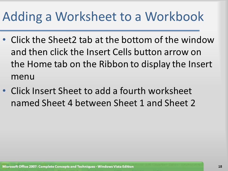 Adding a Worksheet to a Workbook