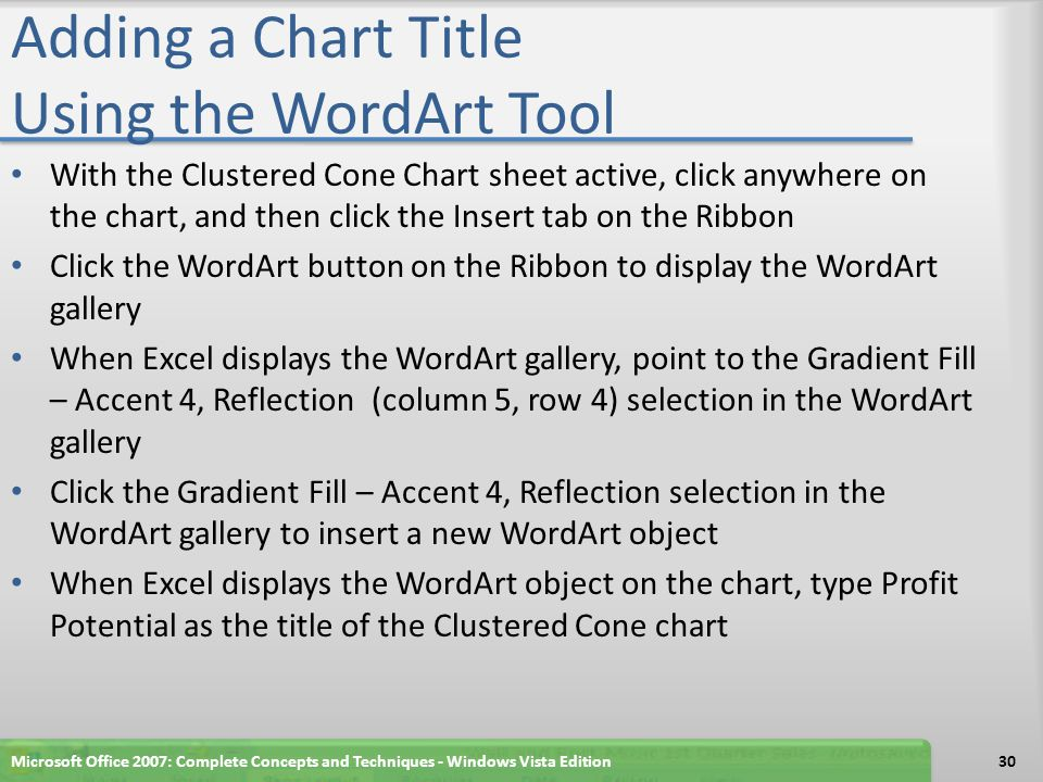 Adding a Chart Title Using the WordArt Tool