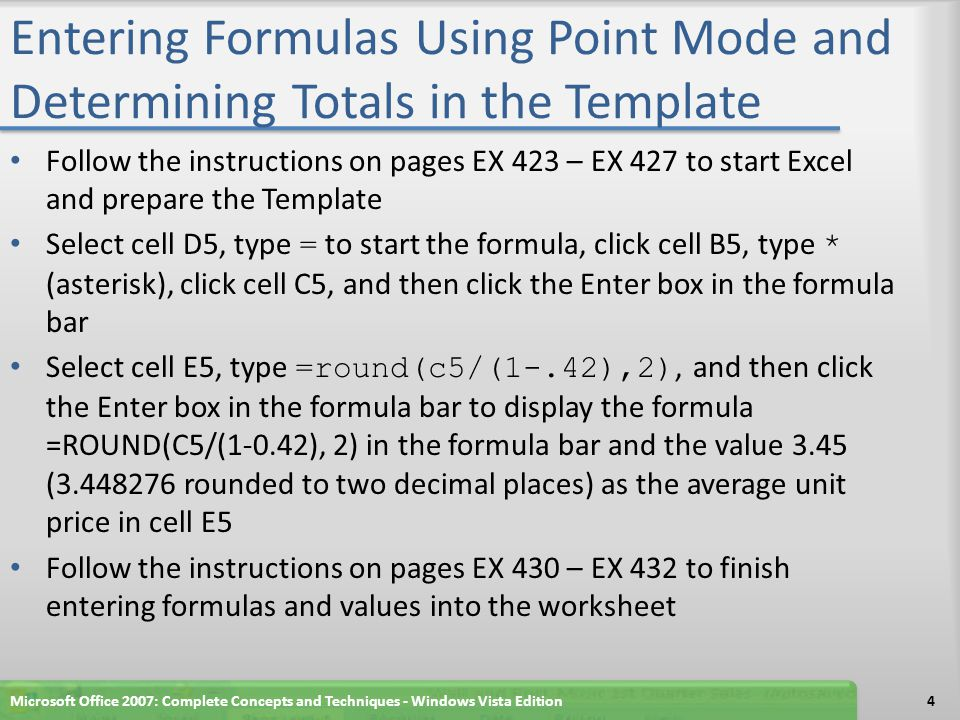 Entering Formulas Using Point Mode and Determining Totals in the Template